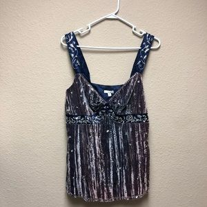 [Cache] NWT Beaded Velour Gray Tank Top
